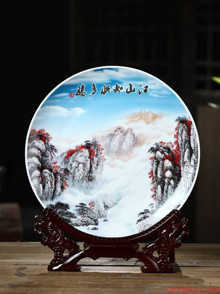 Jingdezhen ceramics luck landscapes hang dish decorative plate sat dish wine porch home furnishing articles in the living room