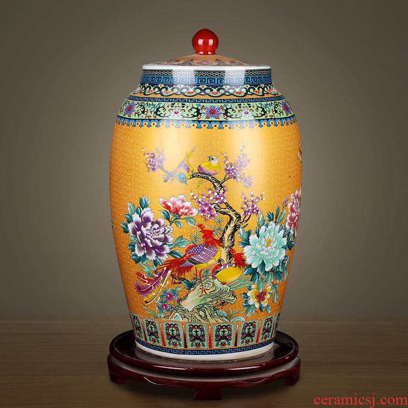 Jingdezhen ceramic barrel with cover home 20 jins 30 jins 50 kilo meters jar airtight store ricer box moistureproof insect - resistant