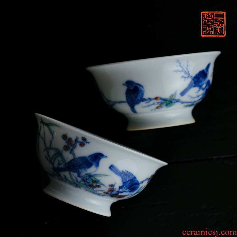 Offered home - cooked ju long up controller yongzheng zhengde cup cup of jingdezhen blue and white color bucket and flowers and birds master cup of tea