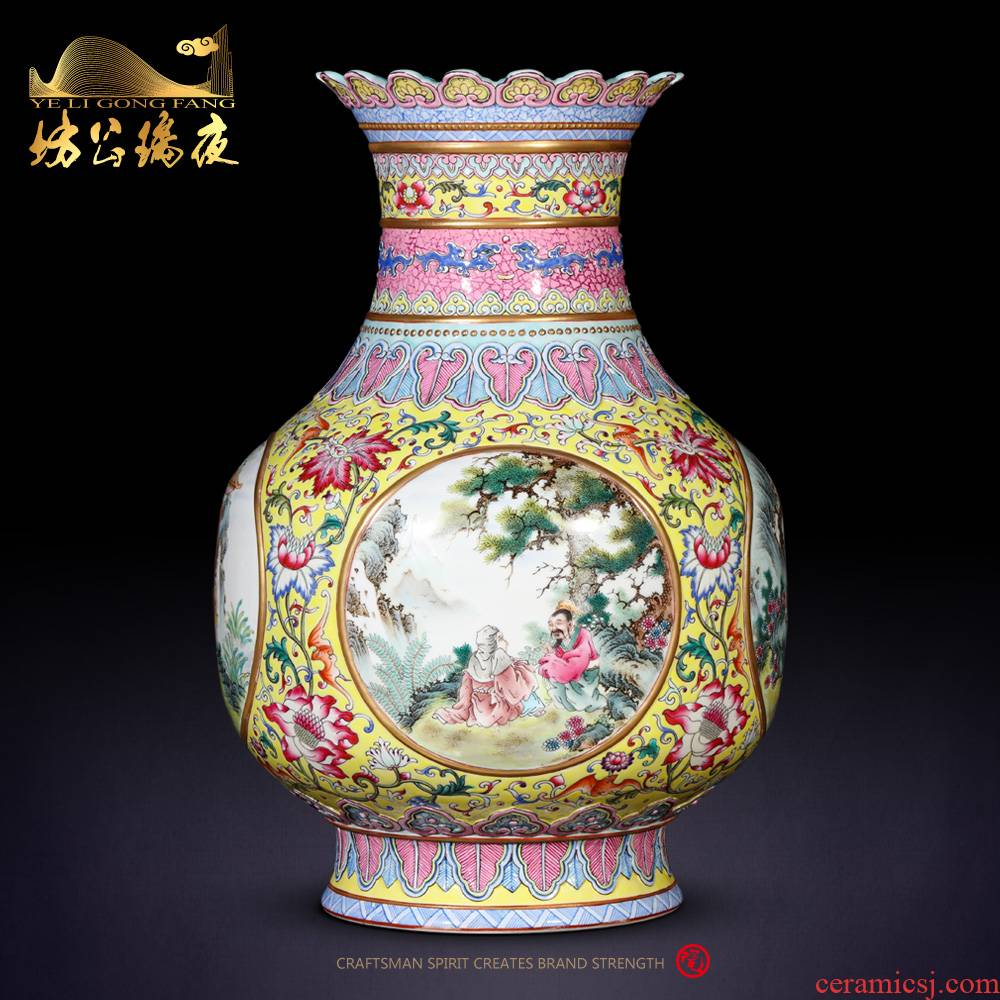 Jingdezhen ceramics vase archaize pastel dress character the lantern rich ancient frame of Chinese style household ornaments