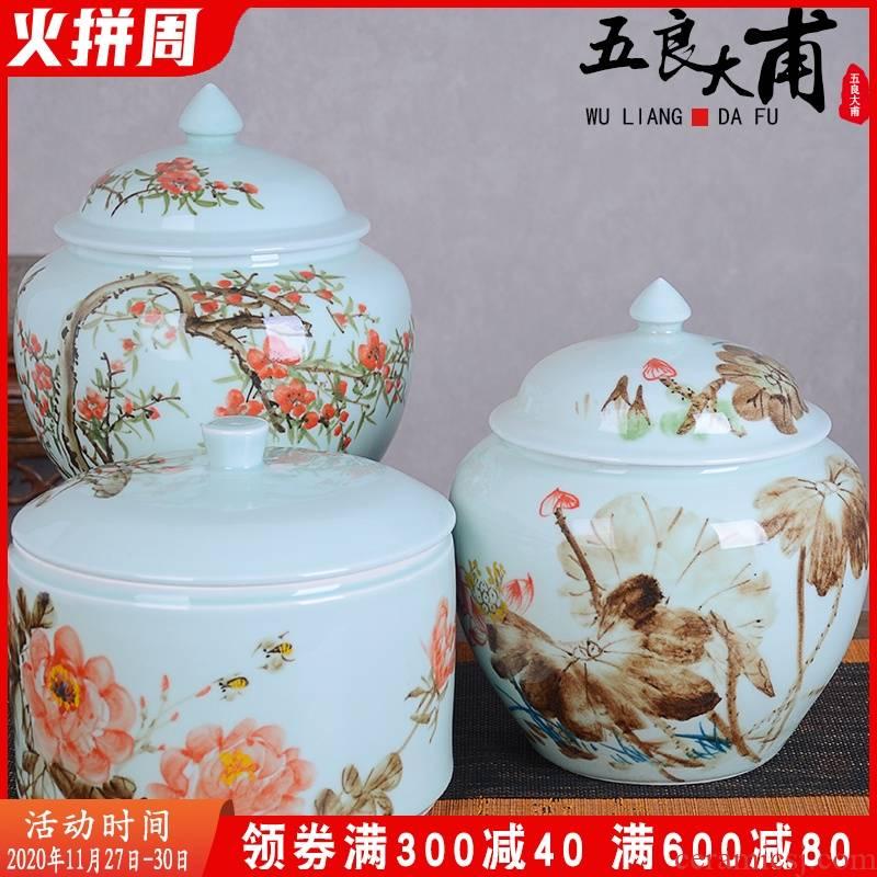 Jingdezhen ceramic seal tank of household grain storage tank retro receive tea storage sealed box