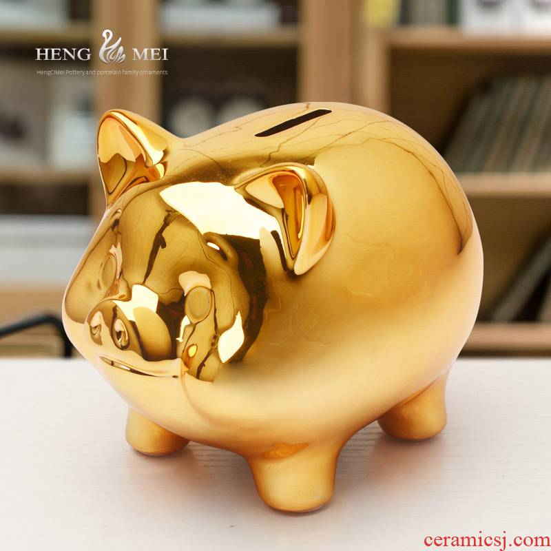 Wine accessories furnishing articles piggy bank ceramic little golden pig can save the children room living room desk decorations