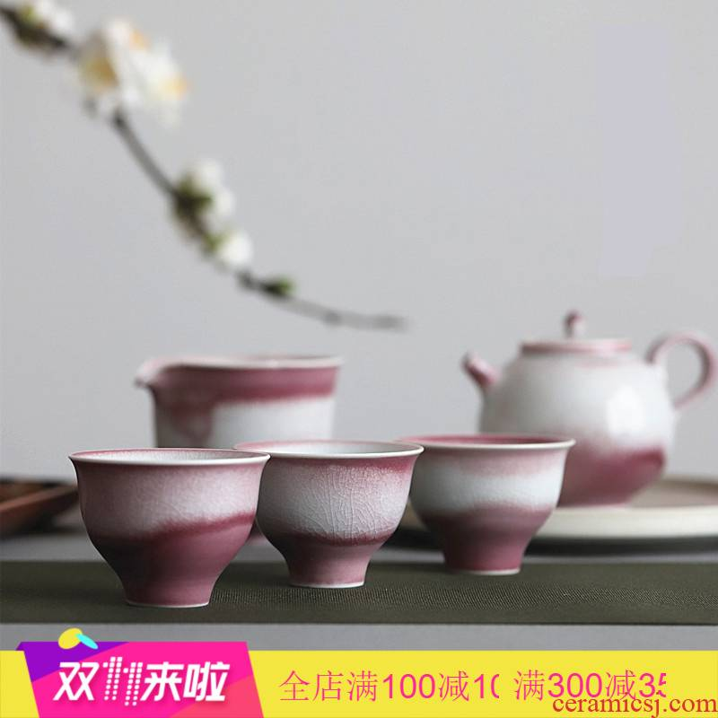The Poly real view jingdezhen creek open the slice red glaze can keep sample tea cup ice crack glaze large tea light simple but elegant manual peach pink