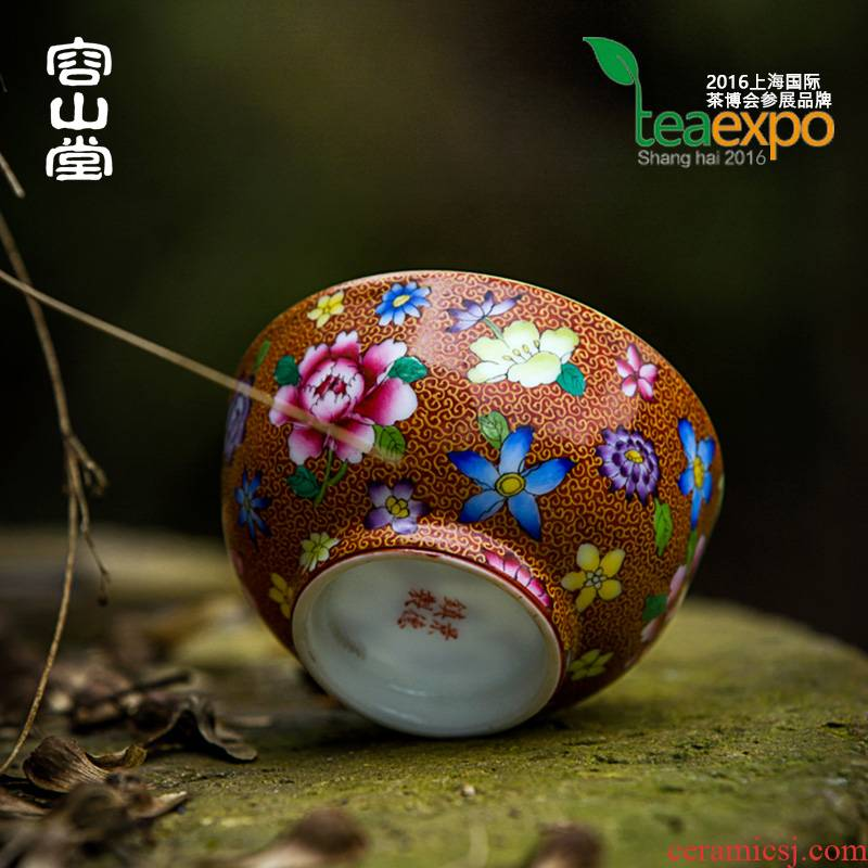Shadow enjoy let jingdezhen up sample tea cup master cup kung fu tea cups manual hand - made colored enamel tea LST
