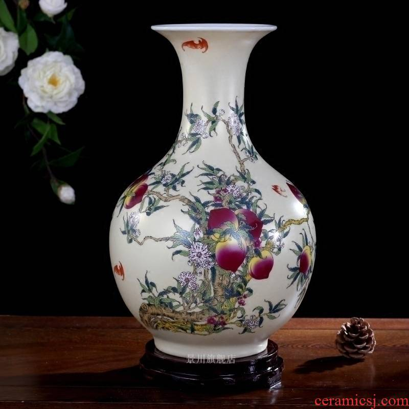 Jingdezhen ceramics flat peach offered vase life of mesa home sitting room adornment study office hotel furnishing articles