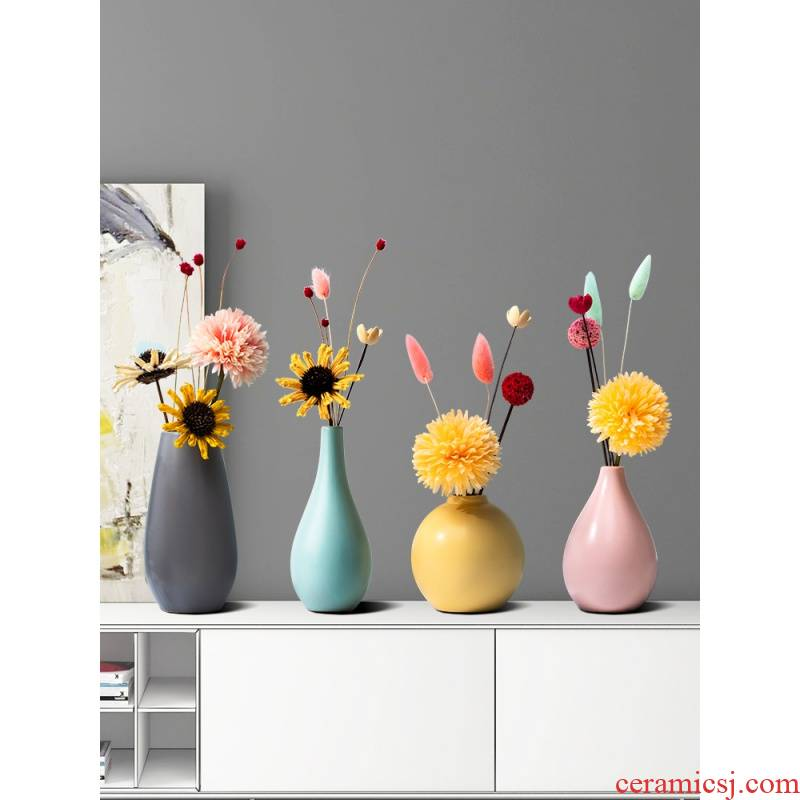 The Nordic idea color ceramic vase household living room table dry flower arranging flowers small pure and fresh and decorative flower implement light and decoration