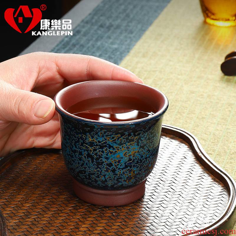 Recreational product violet arenaceous checking Chinese lacquer zhu built mud sample tea cup lamp cup bowl master cup single CPU porcelain gold cup