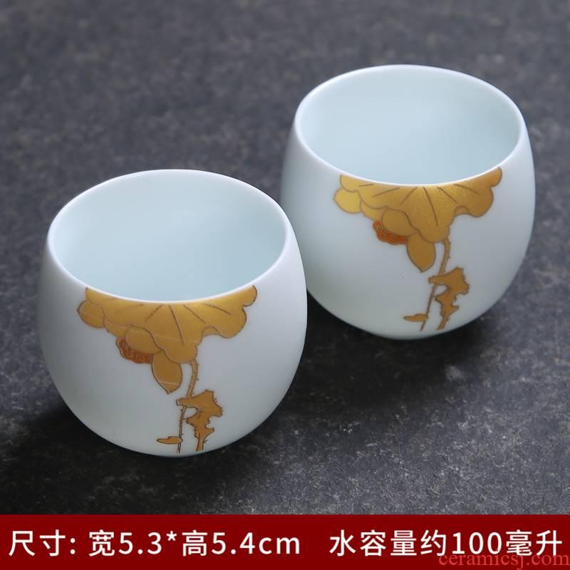Jingdezhen inferior smooth white porcelain teacup individual up large sample tea cup cup build master cup single CPU kung fu tea set