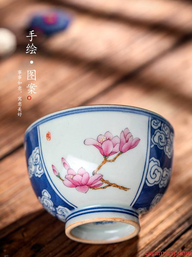 Jingdezhen blue and white color bucket hand - made teacup ceramic sample tea cup master cup of pure manual yulan household utensils single CPU