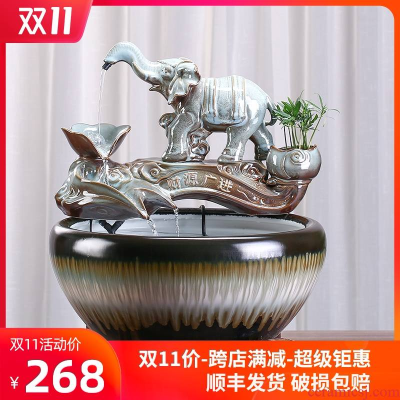 Creative lucky desktop office sitting room circulating water restoring ancient ways furnishing articles and ceramic goldfish bowl landscape fish trimmings