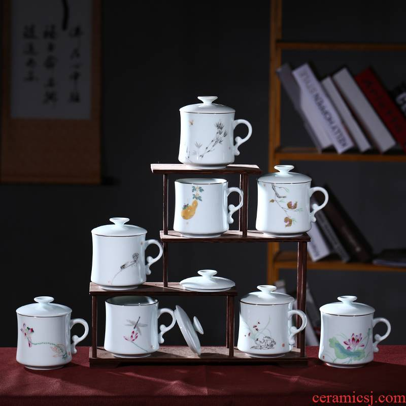 Jingdezhen ceramic cups with cover cup office keller cup custom couples hand - made glass tea cup