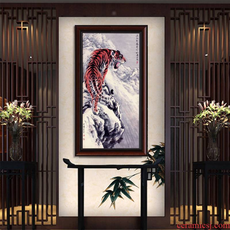 Home sitting room sofa background wall adornment jingdezhen roars sky hangs a picture ceramic painting porcelain plate painting office