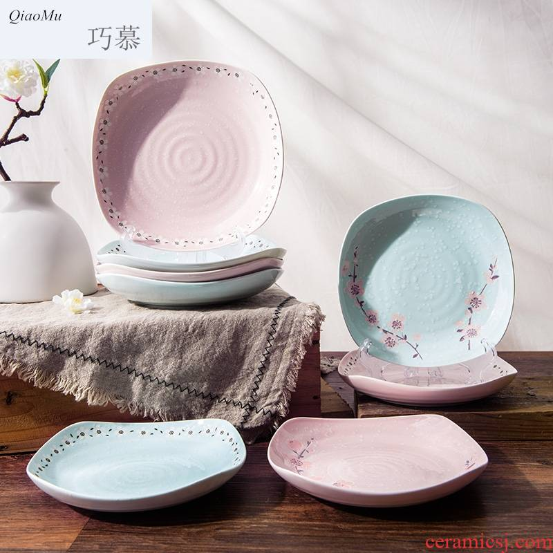 Qiao mu Japanese - style square plate with creative cutlery set ceramic four corners of sushi salad plate plate plate