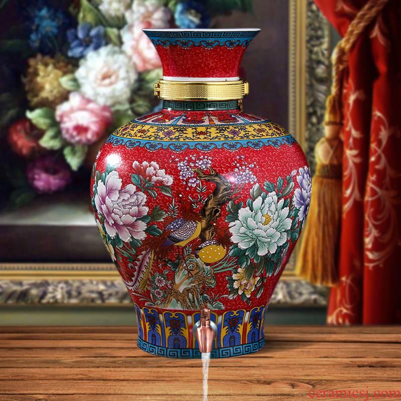 Jingdezhen ceramic terms jars it 10 jins 20 jins 30 jins home empty wine bottle seal wine jar with the tap