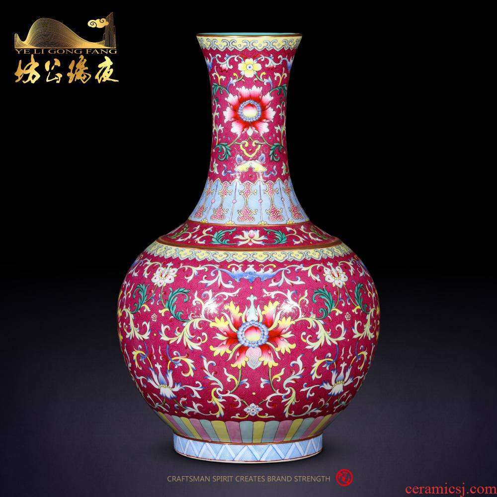 Jingdezhen ceramics imitation the qing qianlong red scramble for lotus flowers wrapped branches bottle decoration rich ancient frame furnishing articles