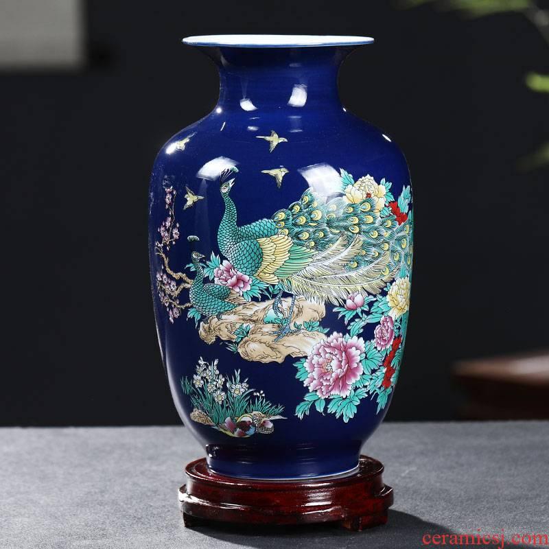 Porcelain of jingdezhen ceramics peacock enamel vase Chinese rich ancient frame wine sitting room adornment handicraft furnishing articles
