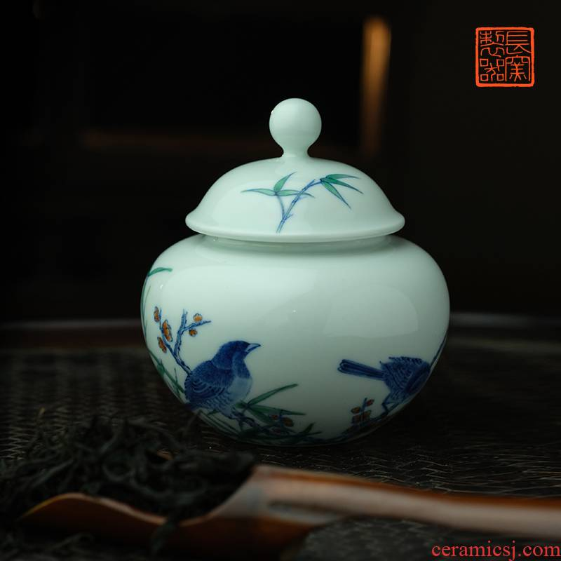 Offered home - cooked ju long up controller yongzheng hand - made bucket color painting of flowers and tea canister of jingdezhen tea service by hand
