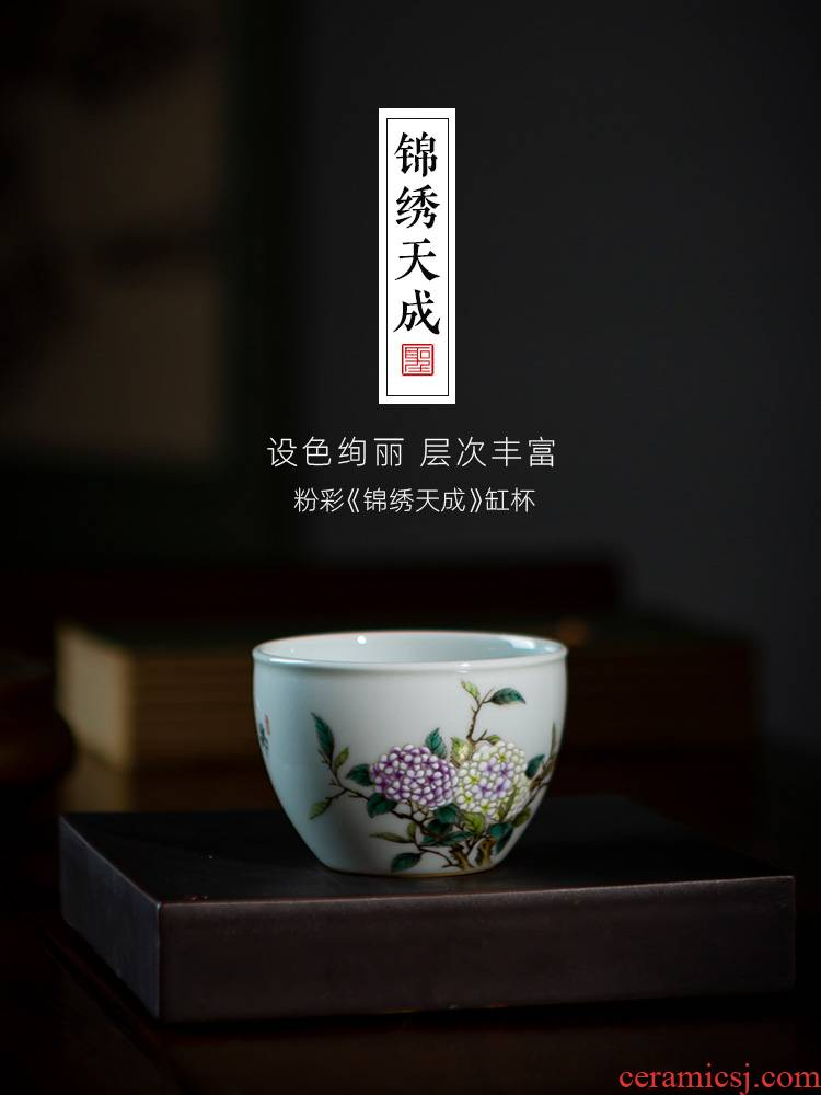 Santa teacups hand - made ceramic kungfu pastel hydrangea tea masters cup all hand jingdezhen tea cup