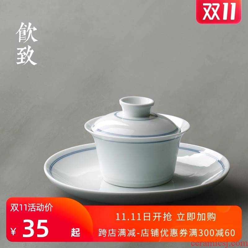 Three to make tea drinking to jingdezhen hand - made tureen single dry terms plate ceramic cups hot tea set size