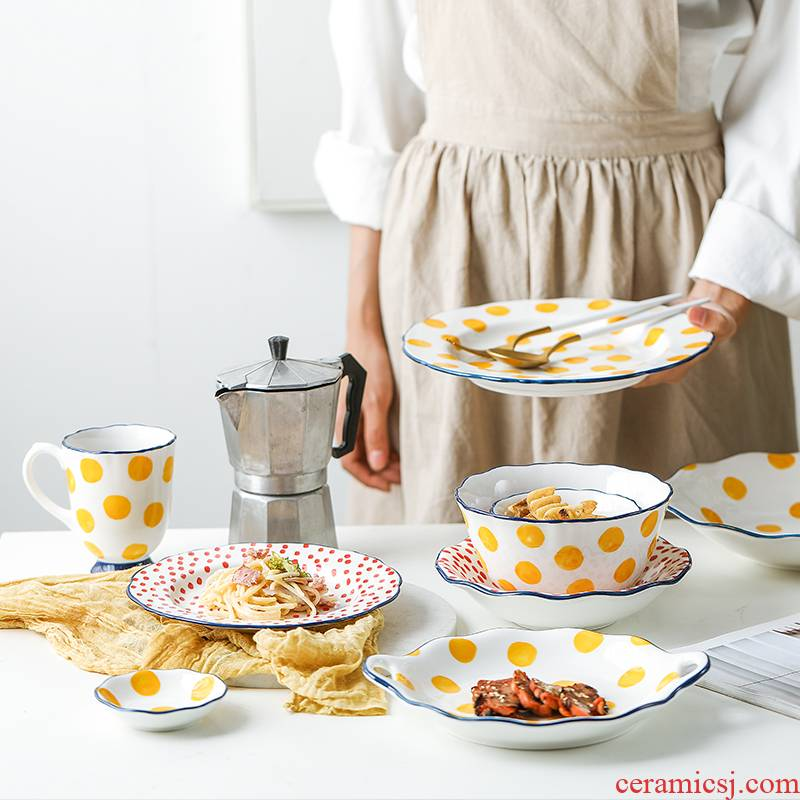 The Line NingFu Japanese ceramics tableware suit creative dish dish bowl noodles in soup dish bowl composite ceramic package