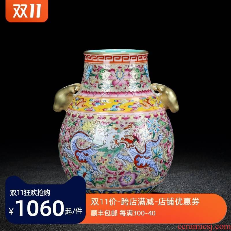 Jingdezhen ceramics colored enamel of large vases, flower implement flower arranging the sitting room porch decorate place Chinese porcelain