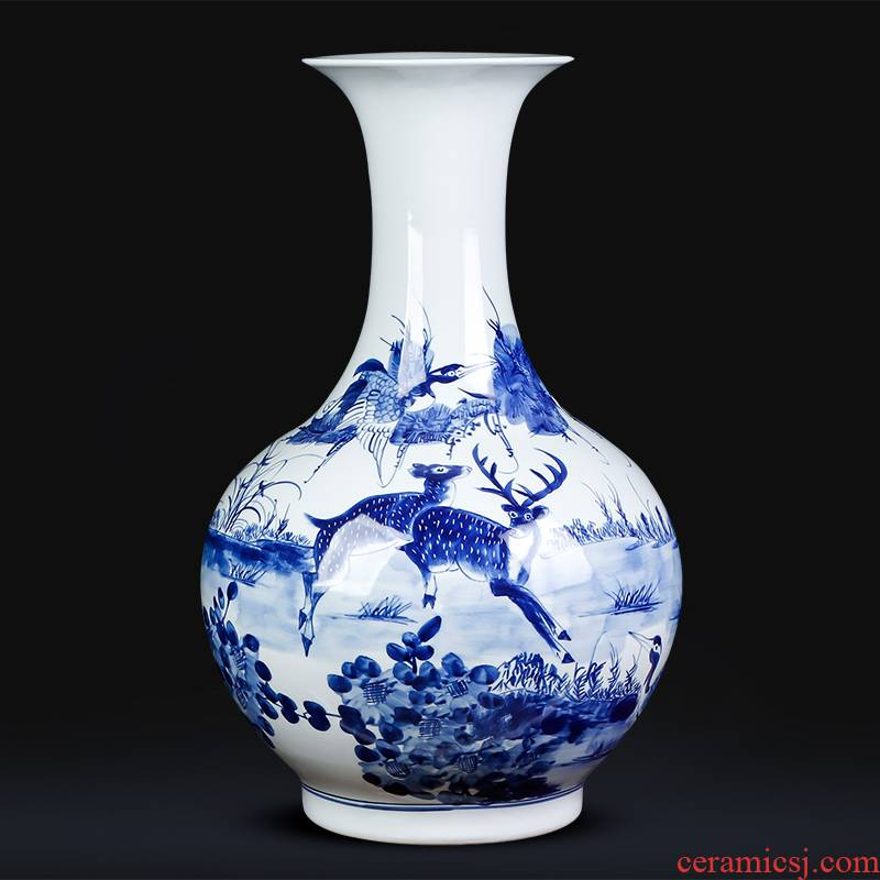 Jingdezhen porcelain ceramic hand - made antique blue and white porcelain glaze color under the sitting room of Chinese style household furnishing articles of large vase