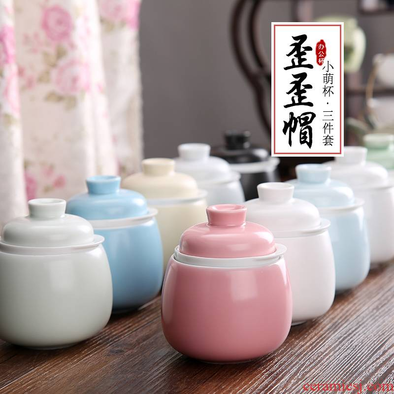 The Mini small double filtering cup express it in jingdezhen ceramic cup home mark cup with cover filter tea cup