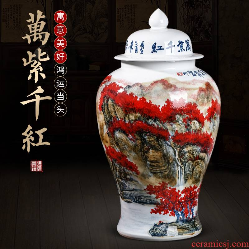 Jingdezhen ceramic general Chinese wind full pot of modern Chinese style household, sitting room porch storage tank furnishing articles