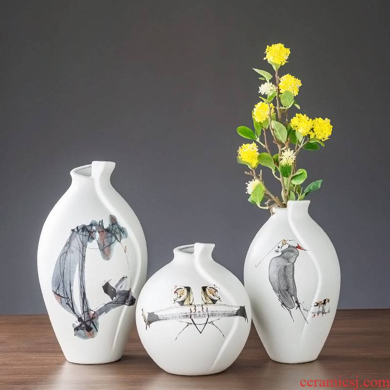 Vase furnishing articles sitting room flower arranging jingdezhen China creative wind white hand - made desktop porcelain contracted household decoration