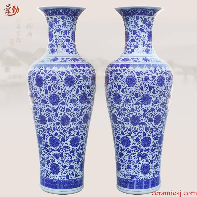 Jingdezhen ceramic vase of large sitting room 413 blue and white porcelain vase furnishing articles household put lotus flower vase of porcelain of the tail