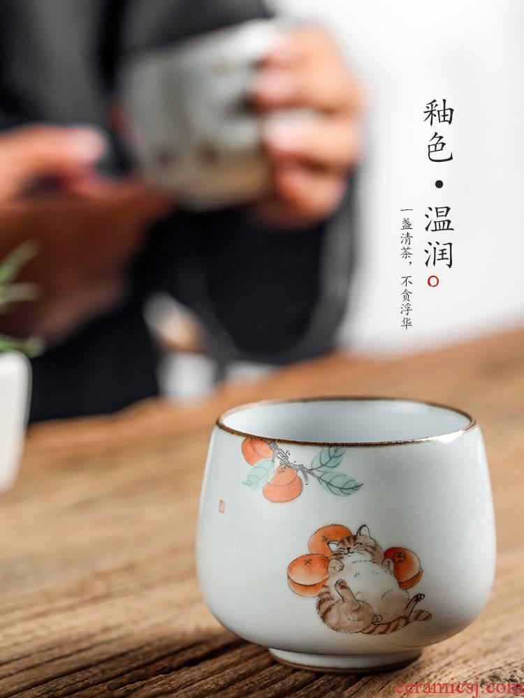 Jingdezhen hand - made master cup checking ceramic cups your up sample tea cup cat kunfu tea light single CPU getting tea set