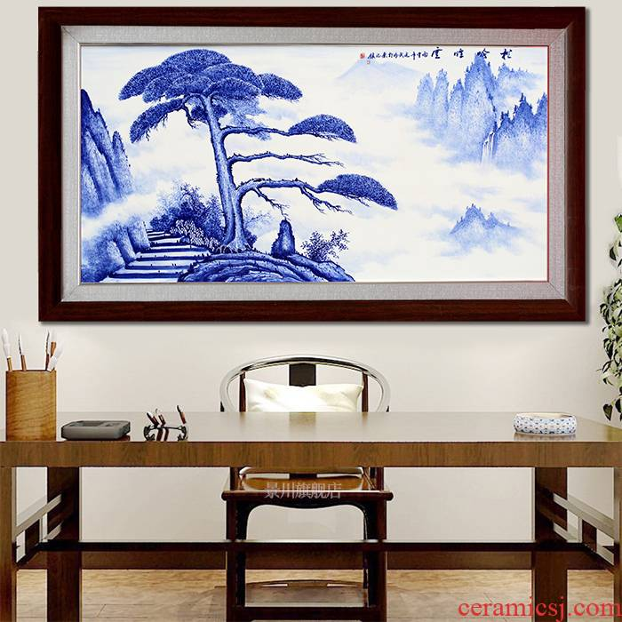 Hand made blue and white porcelain plate painting jingdezhen ceramic sofa setting wall hang a picture to study Chinese sitting room adornment