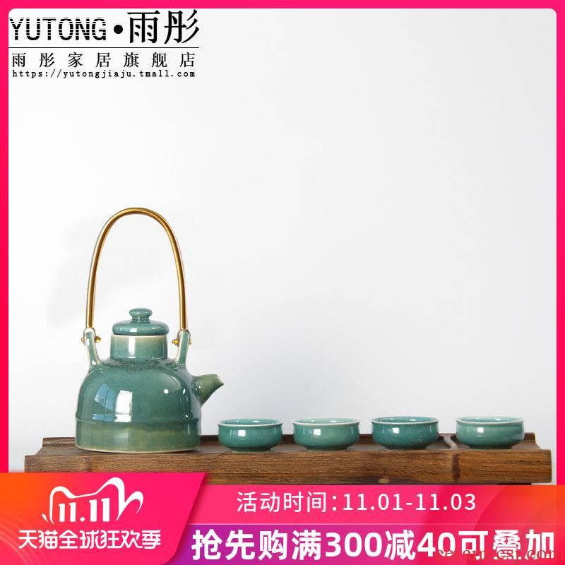Variable creativity was copper fittings laptop creative tea jingdezhen high tea set a pot of four cups