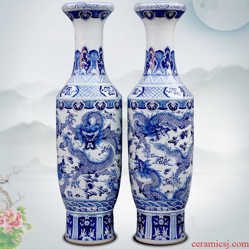 Hand made blue and white same of large porcelain vase of jingdezhen ceramics as the sitting room adornment hotel furnishing articles