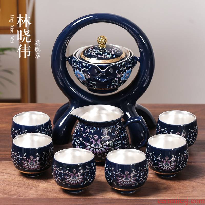 Jingdezhen coppering. As silver tea set home office automatic ceramic lazy teapot hot silver kung fu tea cups