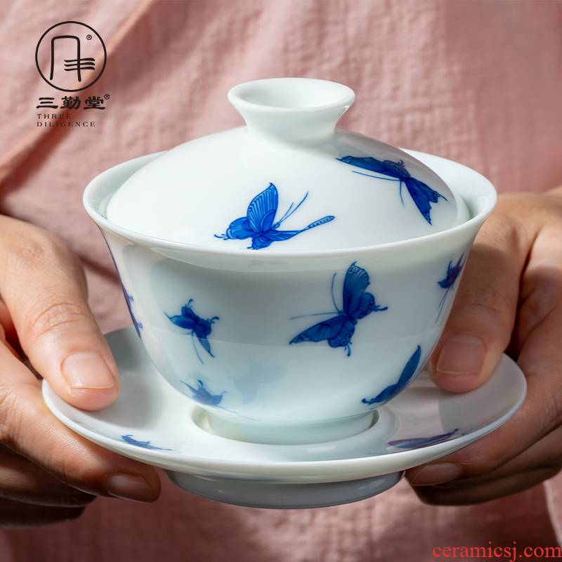 Blue and white tureen jingdezhen ceramic cups kung fu tea set three frequently hall hand - made butterfly dream of make tea, only three cups