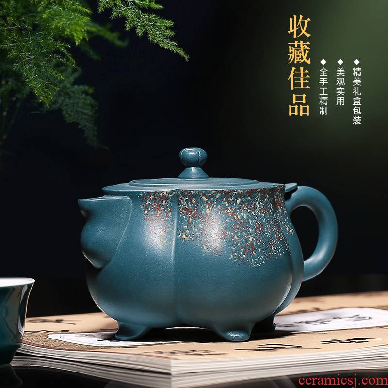 Shadow enjoy famous yixing it 】 pure manual undressed ore green dot color wishful pot teapot tea set of the republic of HM