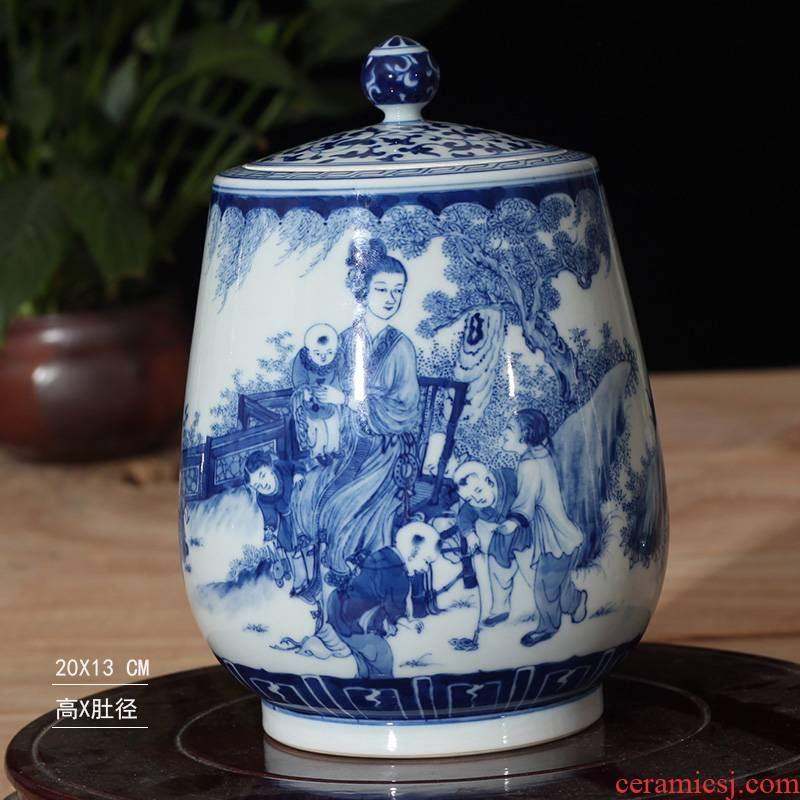 Jingdezhen water - wave China general auspicious hand - made porcelain tea pot cover China general tank cover tank