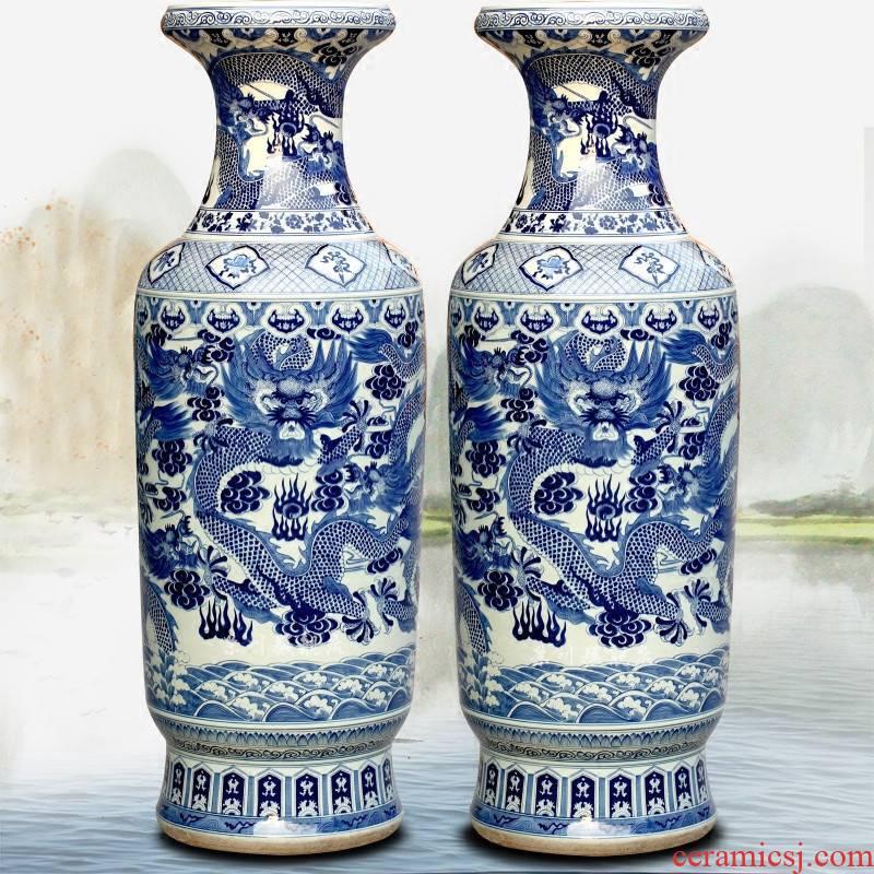 Hand draw the blue and white porcelain of jingdezhen ceramics Jin Zhonglong landing big sitting room big porcelain vase hotel furnishing articles