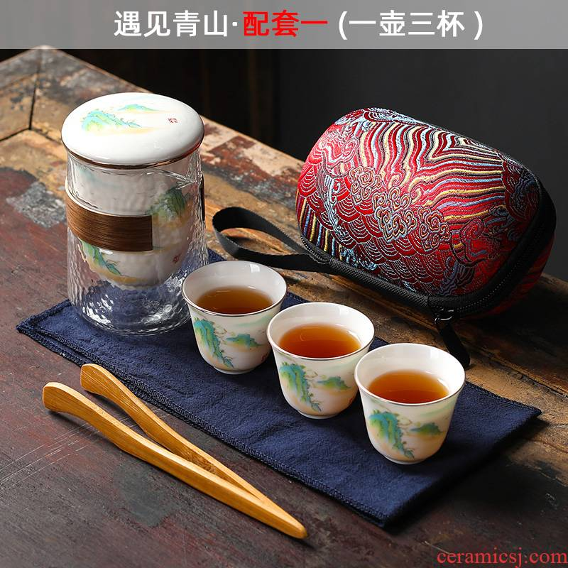 Ya xin company hall of violet arenaceous a pot of four cups of portable is suing travel car crack cup tea sets bag tea set