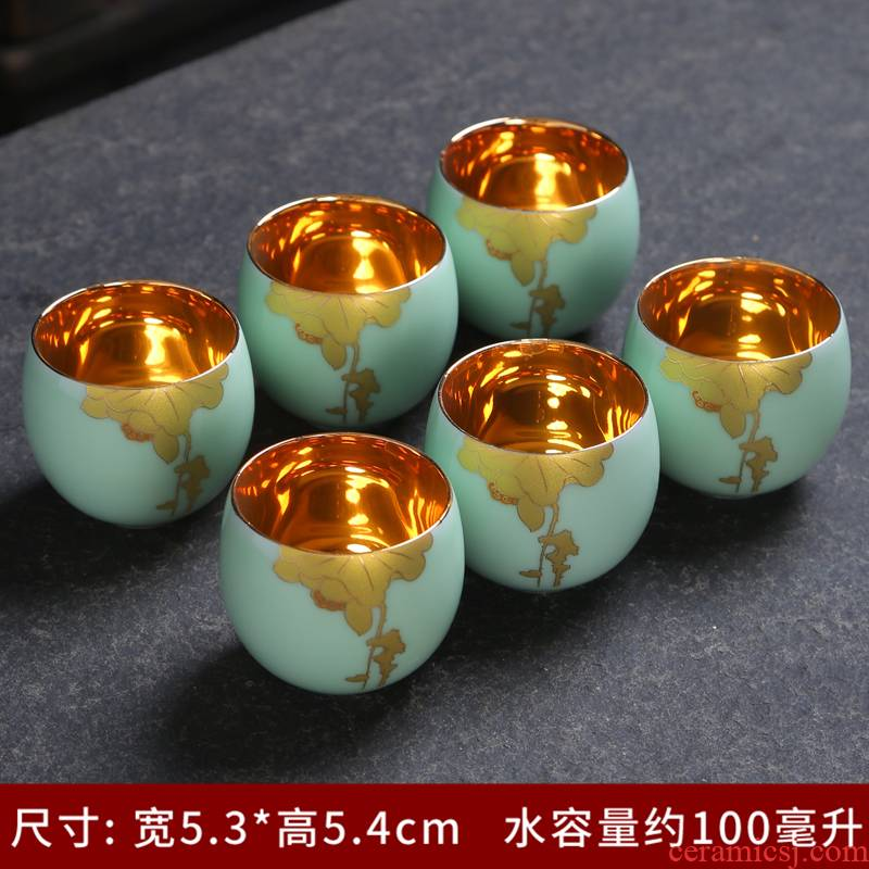 Tasted silver gilding jingdezhen blue and white porcelain kung fu tea set the see colour to use cups single cup sample tea cup masters cup tea cup