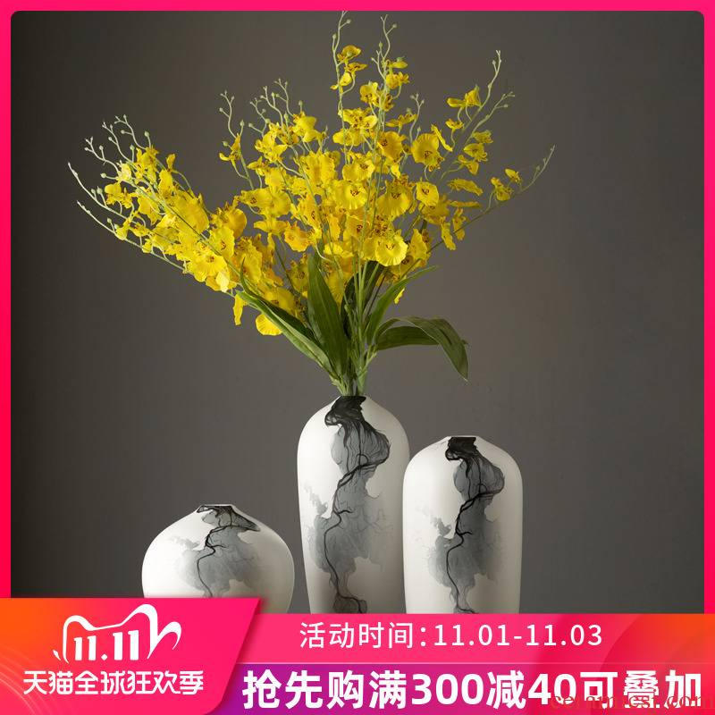 Jingdezhen ceramic vase three - piece simulation flower, flower art creative contracted sitting room of new Chinese style with modern furnishing articles