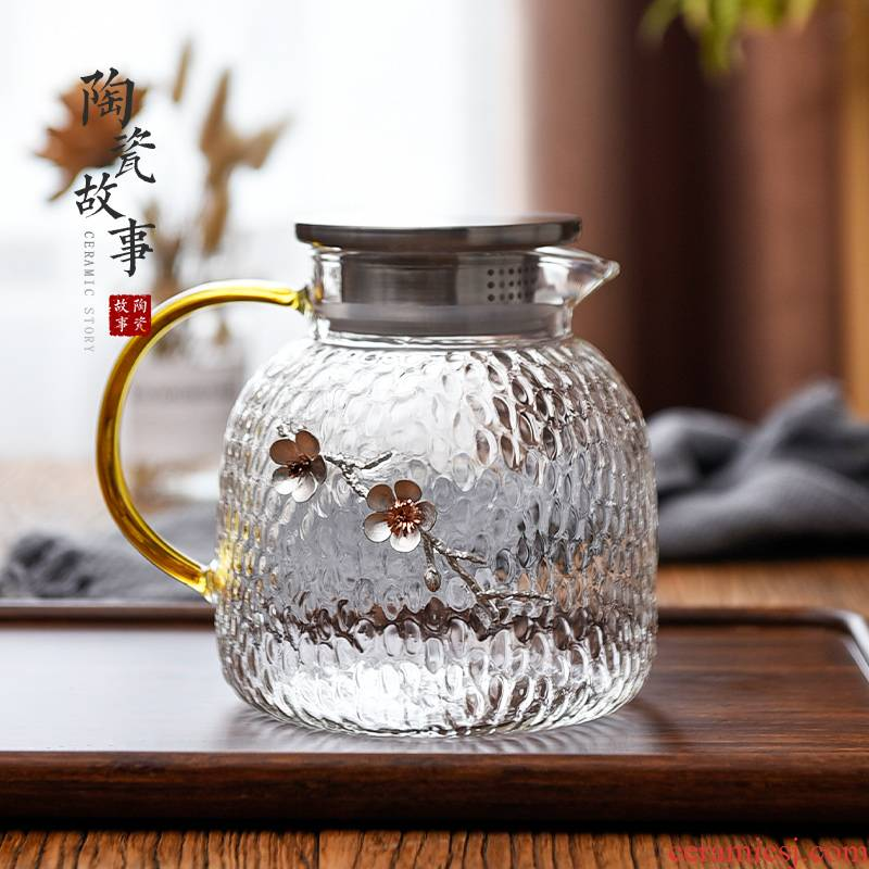 Ceramic story more creative cold glass suits for stick kettle tin heat explosion cold boiled water household glass kettle