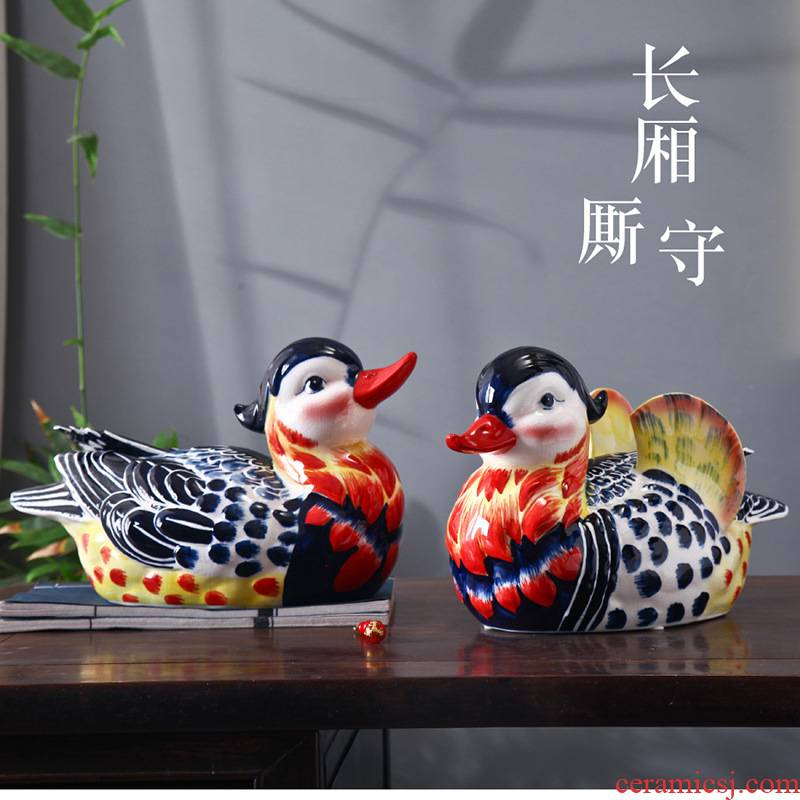 Ceramic yuanyang furnishing articles love creative head of a bed bedroom room decoration decoration of bedroom the head of a bed small wedding gift