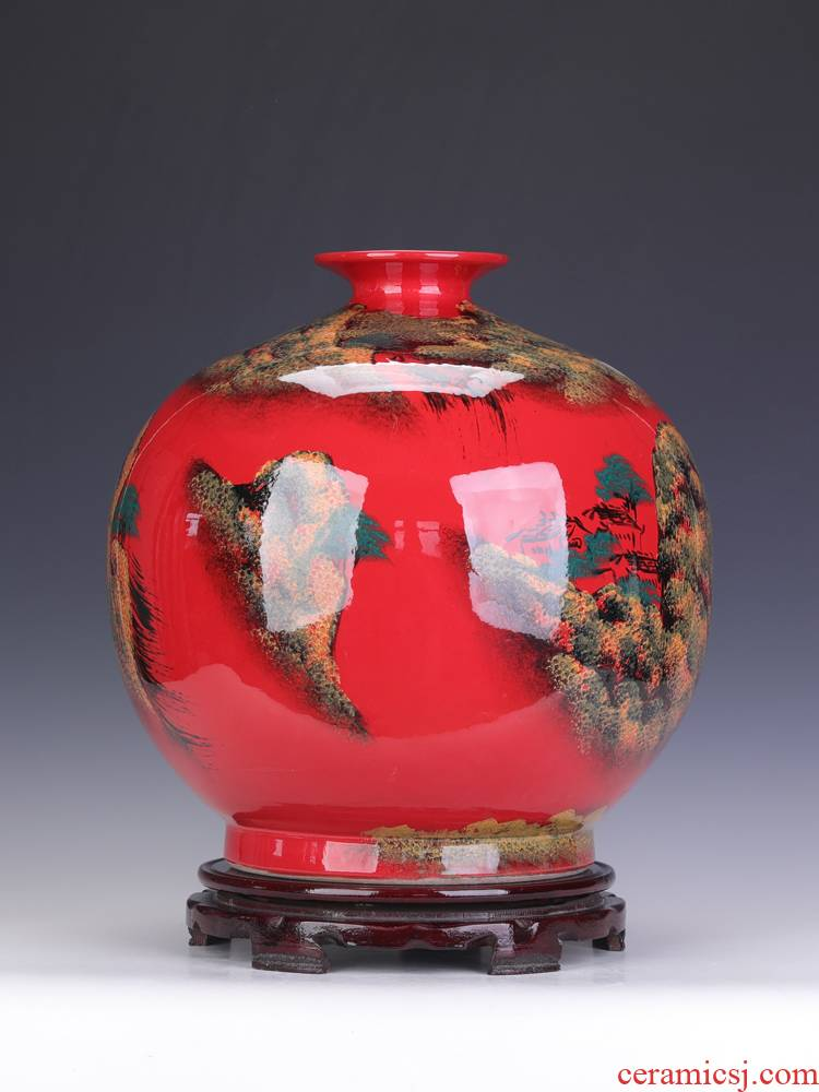 Sitting room red round belly big vase furnishing articles porcelain of jingdezhen ceramics China red adornment flower arranging child marriage