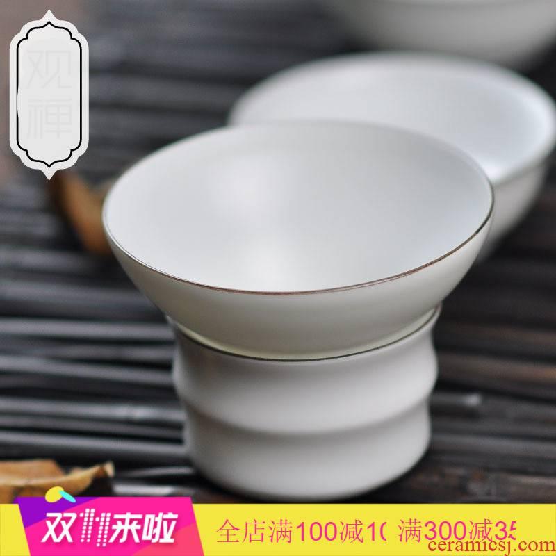 Poly real (landscape) matte enrolled white tea tea filter creative ceramics fine porcelain points tea filter mat glaze tea