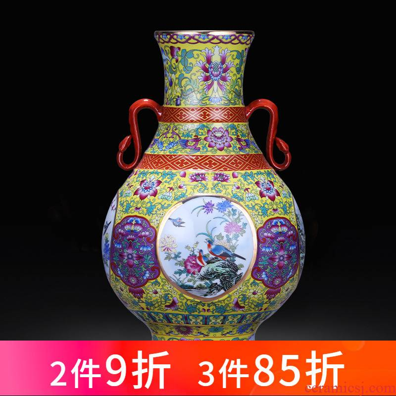 Jingdezhen porcelain ceramic ear vase of new Chinese style household living room TV ark, retro flower adornment furnishing articles