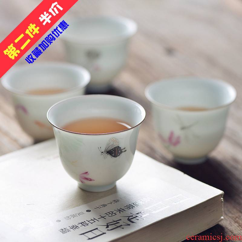 One thousand fire hand - made lotus kung fu restoring ancient ways of jingdezhen ceramic cups a small cup sample tea cup masters cup koubei