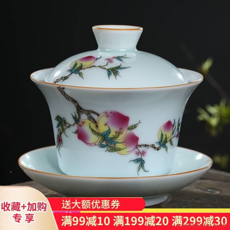 Poly real scene of jingdezhen ceramic tea set tureen tea cups three of the bowl bowl pastel shade celadon medium bowl of tea machine work