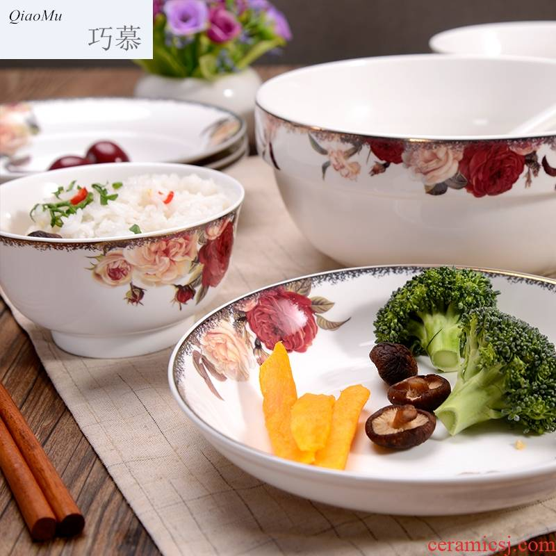 Qiao mu the make - up beauty Chinese ceramic bowl plate suit household to eat bread and butter rice bowls salad plates